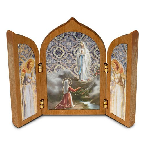 Triptych - Our Lady of Lourdes Tabletop Stand