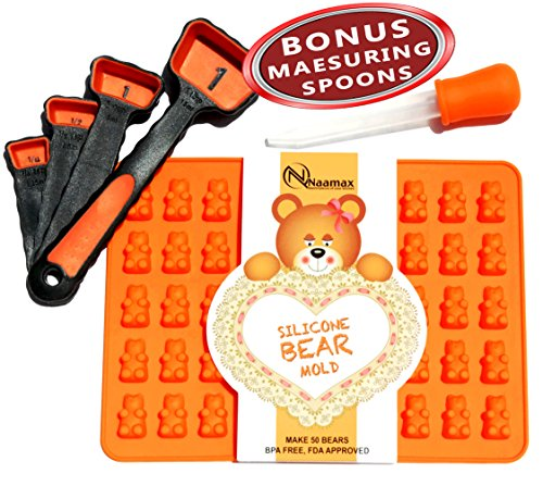 Charming Kit Gummy Bear Mold, Makes 50 Bears, Tough Silicone, Includes Dropper, 4 MEASURING SPOONS BONUS, Recipe PDF. Candy Mold Perfect For Making Hard Candy, Chocolate, Jelly Bears and more! (Gummy Bear Cake compare prices)