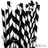 Black Paper Striped Straws (24 Pack) Paper