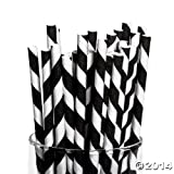 Black Striped Paper Straws