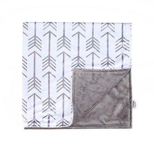 Towin Baby Arrow Minky Double Layer Receiving Blanket, Grey 30x30