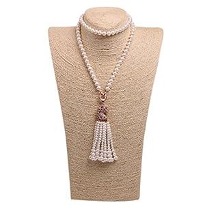 Wild Wind (TM) Diamond Leopard Tassels Pearl Necklaces (Rose Gold Side)
