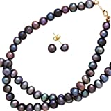 14K Yellow Gold Black Fresh Water Pearl Jewelry Set