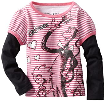 Baby Togs Little Girls' Long Sleeve Tee With Black Sleeves, Pink, 3T