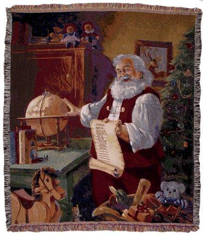 Santa Checking Christmas List Holiday Tapestry Throw Blanket 50