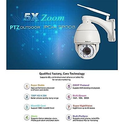 Sricam 1.0 Megapixel 720P 5x Optical Zoom H.264 Wireless WiFi Outdoor PTZ Dome Camera Pan Tilt Security IP Camera, IR Night Vision up to 130ft (40M), IP66 Waterproof (Grey)
