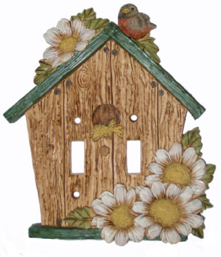 Lightswitch Rustic Green Birdhouse Double Switch Plate Cover