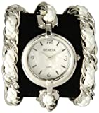 Geneva High Fashion Twisted Rope Chain Triple Wrap Watch with Toggle Clasp -White and Silver