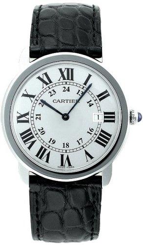 Cartier Men's Ronde Solo De Cartier 36mm Black Leather Band Steel Case Quartz Analog Watch W6700255