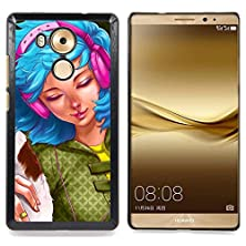 buy For Huawei Mate 8 - Blue Hair Woman Headphones Grunge Drawing /Design Hard Plastic Protective Case Slim Fit Cover/ - Super Marley Shop -
