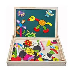 Marke: Tribe  Material: Holz  Farbe: Multicolor  Holzbox Größe: 30cm x 23cm x 3cm  Sprache: Englisch  Alter: ab 3 Jahren  Paket-Inhalt: 1 x Platine; 1 set x Magnetische Sticker; 2x Kreide; 1 x Foren Wischer; 1 x Whiteboard Stift  Dies ist eine multif...