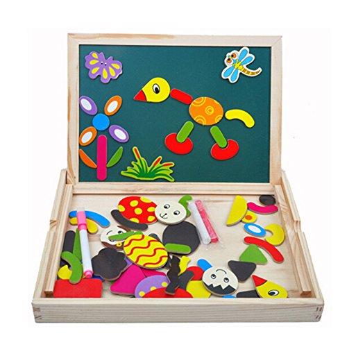 Tribe Giocattoli in Legno Puzzle Magnetica Lavagna 2 in 1 Educativi Jigsaw Costruzioni Giochi e Gioco da Tavolo per Bambini Bambino Bimba da 3 4 5 Anni