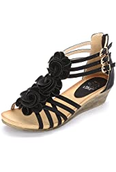 Alexis Leroy 2015 New Arrival Women Fashion Summer Wedge Heel T-straps Buckle Sandals