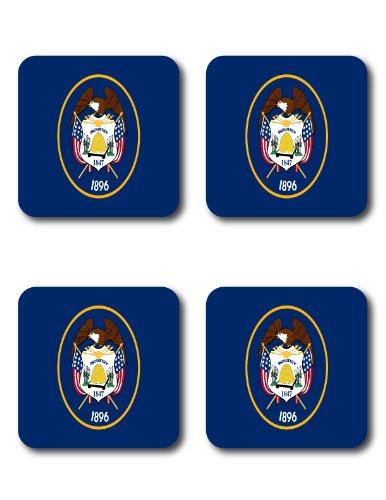 Utah Ut State Flag Image Square High Quality Rubber Kitchen - Drink - Beverage Coasters - Set Of 4