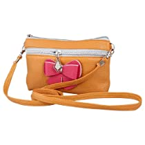 Women 3D Bowknot Accent Light Brown Textured Faux Leather Hand Bag Purse Pouch