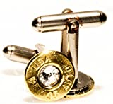 A-USA .45 Automatic Brass Finish Cuff Link and Tie Tack Set