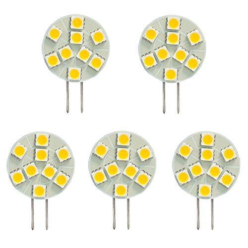 HERO-LED, T3, G4-Basis JC Bi-Pin LED-Halogen Xenon Ersatz Glühlampe, 12 V DC/AC oder 24 V DC, Schreibtischlampen, Pendelleuchte, Puck-Unter-counter-Lichter, Unterschrank-Leuchten, Marine, Boote, Yachten, Accent, Landschafts- und Display, allgemeine Beleuchtung, 9 SMD LED, 15-20W, Ersatzteil, 5 Stück, Daylight White 5000K, G4, 1.80 wattsW 12.00 voltsV