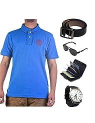 Garushi Blue T-Shirt With Watch Belt Sunglasses Cardholder - B00YMLSOUG