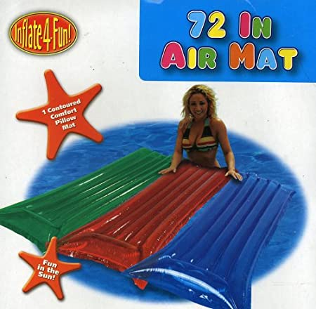 72-in Inflatable Air Mat Pool Float with Contoured Pillow Mat