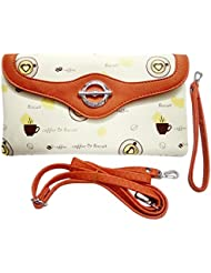 Shopoholics Smart Look Wallet / Sling Bag / Handbag For Gals/Womens, With Detachable Straps (Offwhite With Orange)