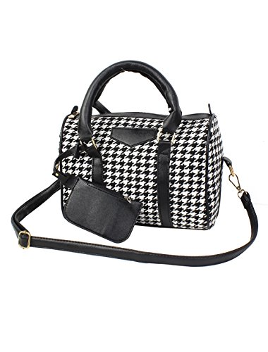 Lady Houndstooth Pattern Tote Satchel Crossbody Handbag Shoulder Bag