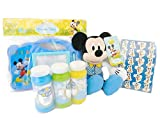 Mickey Mouse Activity Themed Bundle 4 Piece Set- One Plush Mickey Mouse, One Write and Erase Tablet, One Pack Sticker Sheets, One 3 Pack Bubble Solution with Wands