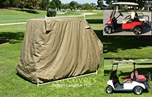 Golf Cart Storage Cover for EZGo, Club car 4 Seater with 2 Seater Roof up to 58L by Formosa Covers