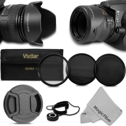 52Mm Professional Accessory Kit For Nikon Dslr (D3200 D3100 D3000 D5200 D5100 D5000) Cameras - Includes: Vivitar Filter Kit (Uv Cpl Nd8) + Reversible Flower Lens Hood + Center Pinch Lens Cap W/ Cap Keeper + Magicfiber Microfiber Lens Cleaning Cloth
