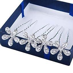 Santfe Crystal Rhinestone Flower Wedding Bridal Party Flower Hair Clip Hairpin, pack of 20pcs