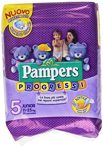 Pampers - Progressi, Pannolino con rete super-assorbente, taglia 5 Junior - 20 pezzi