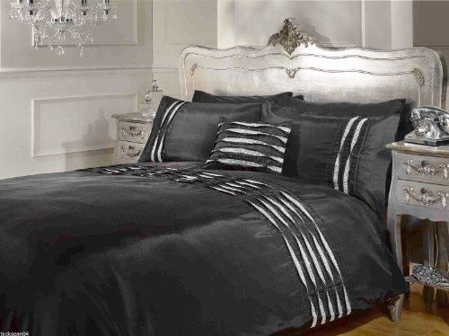 Diamanté Pintuck Black Usa Queen (230Cm X 220Cm - Uk Kingsize) Cotton Comforter Cover Set #Latsyrc *Rap* front-48473