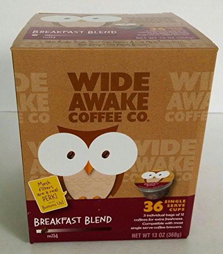 Wide Awake Coffee, Breakfast Blend K-Cups, 36 Single Serve Cups