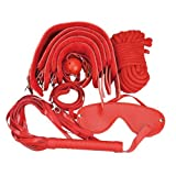 Vktech 7in1 Sexual kinky Bondage Restraint Cuffs Shackles Eye Mask Sex Toy Set Hot (Red)