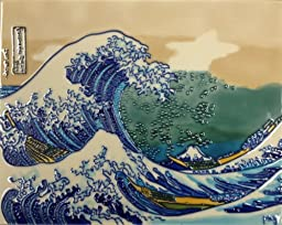 Continental Art Center HD 040 The Great Wave Art Tile, 11 by 14-Inch