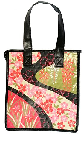 ALOHA HAWAIIAN JAPANESE CHERRY BLOSSOM SAKURA TOTE BAG REUSABLE GIFT BAGS HAWAII LUAU PARTY GIFT SMALL 9X8X5.75 BABY SHOWER INSULATED LUNCH NON WOVEN RED