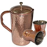 AsiaCraft Pure Copper Hammered Jug With Set Of 2 Mughlai Tumblers