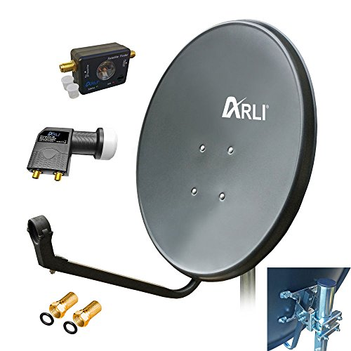 80 cm Digitale HD SAT Anlage GRAU Twin LNB SATFINDER 2 Teilnehmer Antenne 3D 4K