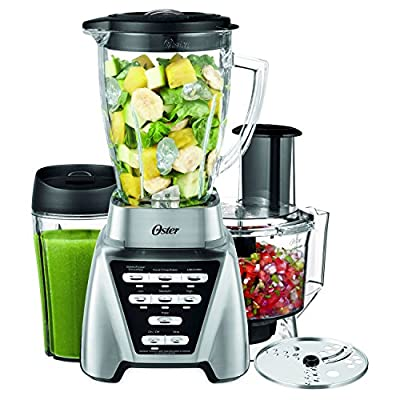 Oster Pro 1200 Brushed Nickel Blender Plus Smoothie Cup & Food Processor -