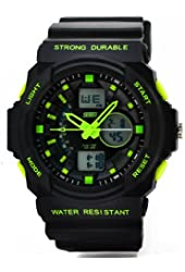 Fanmis Men's Women's Multi-function Cool S-shock Sports Watch LED Analog Digital Waterproof Alarm - Green