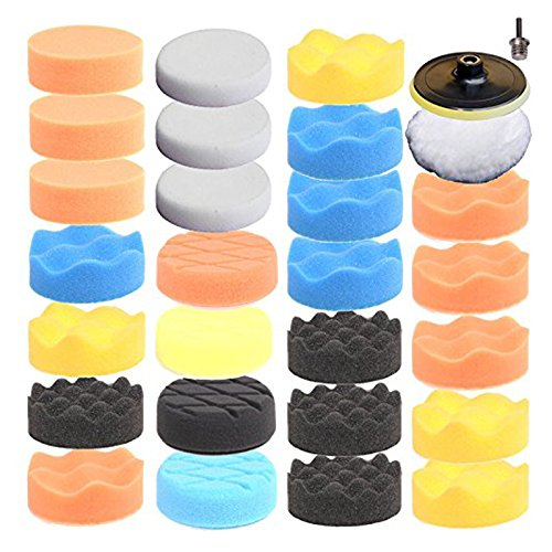 SPTA 3inch (80mm) Higher gross Polish Polishing Buffer Pad Kit For Car Polisher Drill Adapter + 5/8 Inch-11 thread Pack of 29Pcs (Car Polishing Wheel compare prices)