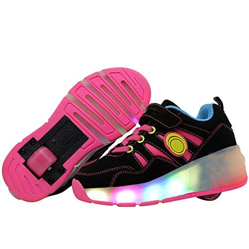 Per bambini Sneakers LED Lampeggiante Wheel Roller Scarpe retrattile Roller Skate Scarpe per compleanno, Natale regalo, Pink, EU 29---Foot Length(cm)