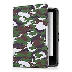 kwmobile Elegant synthetic leather case for the Tolino Vision 1 / 2 / 3 HD Camouflage in green with practical magnetic clasp