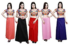 Pistaa combo of Women's Cotton Peach, Black, Red, Pastle Pink and Royal Blue Color Best Indian Plain Readymade Inskirt Saree petticoats