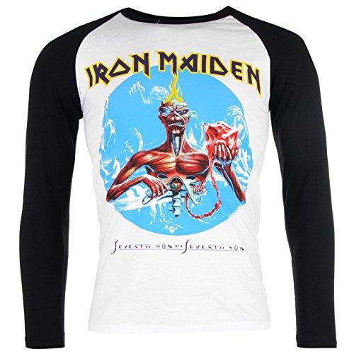 Fascia Maglietta da uomo IRON MAIDEN RGLN T Shirt Girocollo A maniche lunghe Casual Top Seventh Son S
