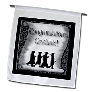 fl_20189_1 Beverly Turner Graduation Design - Congratulations Graduate Black and White - Flags - 12 x 18 inch Garden Flag