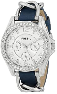 Fossil Women's ES3464 Riley Analog Display Analog Quartz Blue Watch