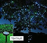 TEKTRUM 82 FT-LONG 150 WHITE LED TWO-IN-ONE SOLAR STRING FAIRY LIGHTS OUTDOOR