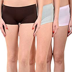 Mynte Women's Sports Shorts (MEWIWCMBP-SHR-99-98-97, Brown, Grey, Baby Pink, Free Size, Pack of 3)