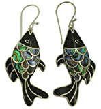 Fish Abalone Paua Shell Sterling Silver 925 Earrings