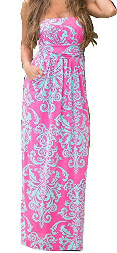 Strapless Maxi Dress Vintage Floral Print, Red, Large (Pink And Blue Dress compare prices)
